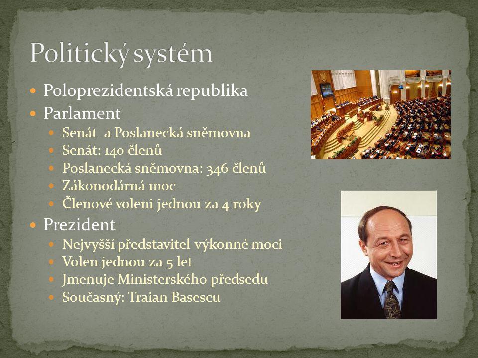 Politický systém Poloprezidentská republika Parlament Prezident