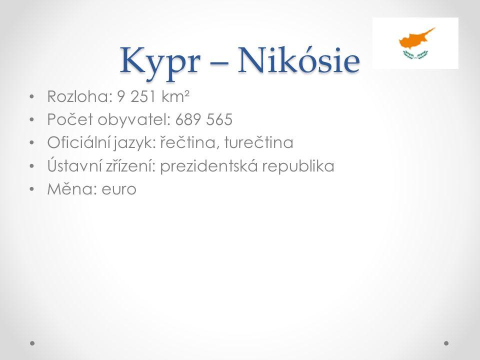 Kypr – Nikósie Rozloha: 9 251 km² Počet obyvatel: 689 565