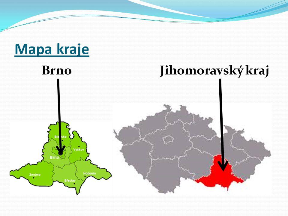 Mapa kraje Brno Jihomoravský kraj
