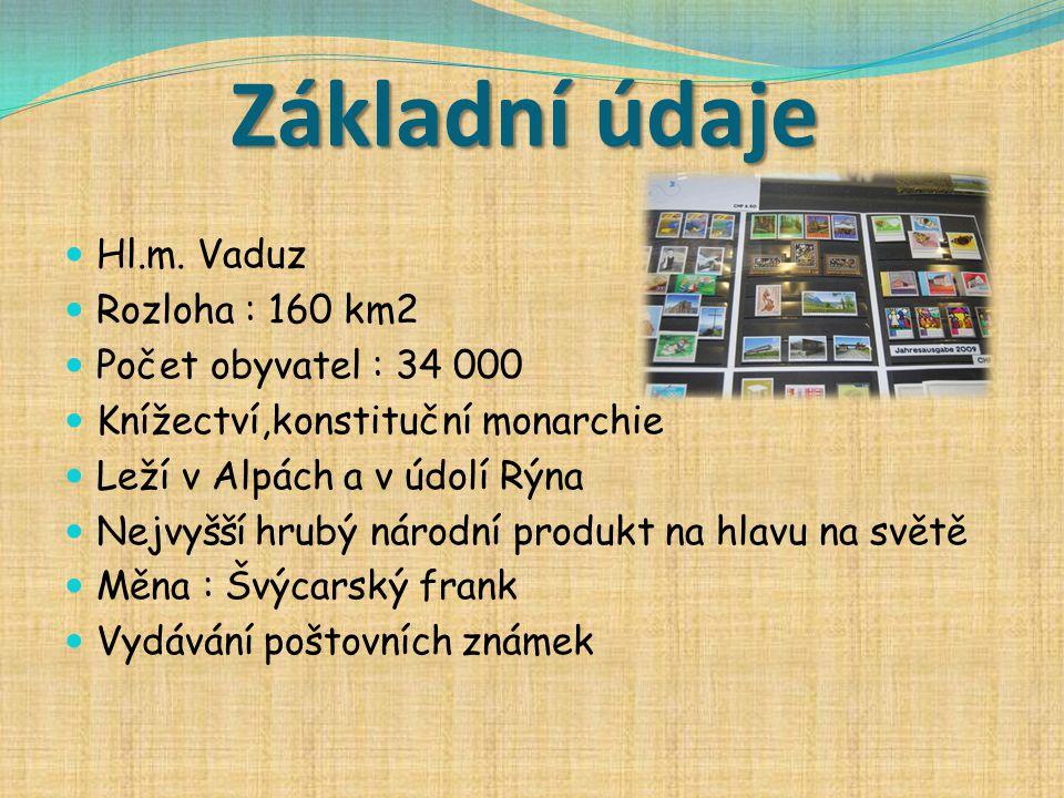 Základní údaje Hl.m. Vaduz Rozloha : 160 km2 Počet obyvatel : 34 000