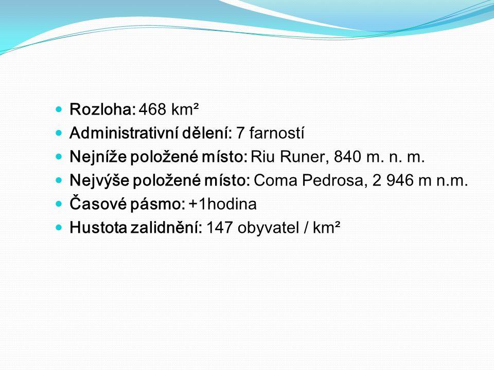 Rozloha: 468 km² Administrativní dělení: 7 farností. Nejníže položené místo: Riu Runer, 840 m. n. m.