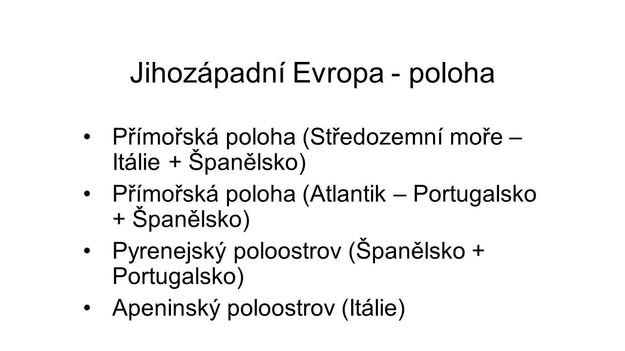 Jihozápadní Evropa - poloha