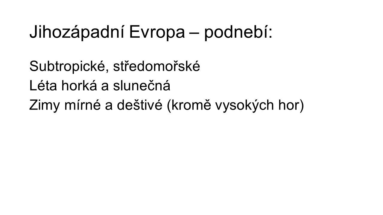 Jihozápadní Evropa – podnebí: