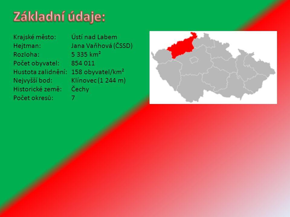 Základní údaje: Krajské město: Ústí nad Labem