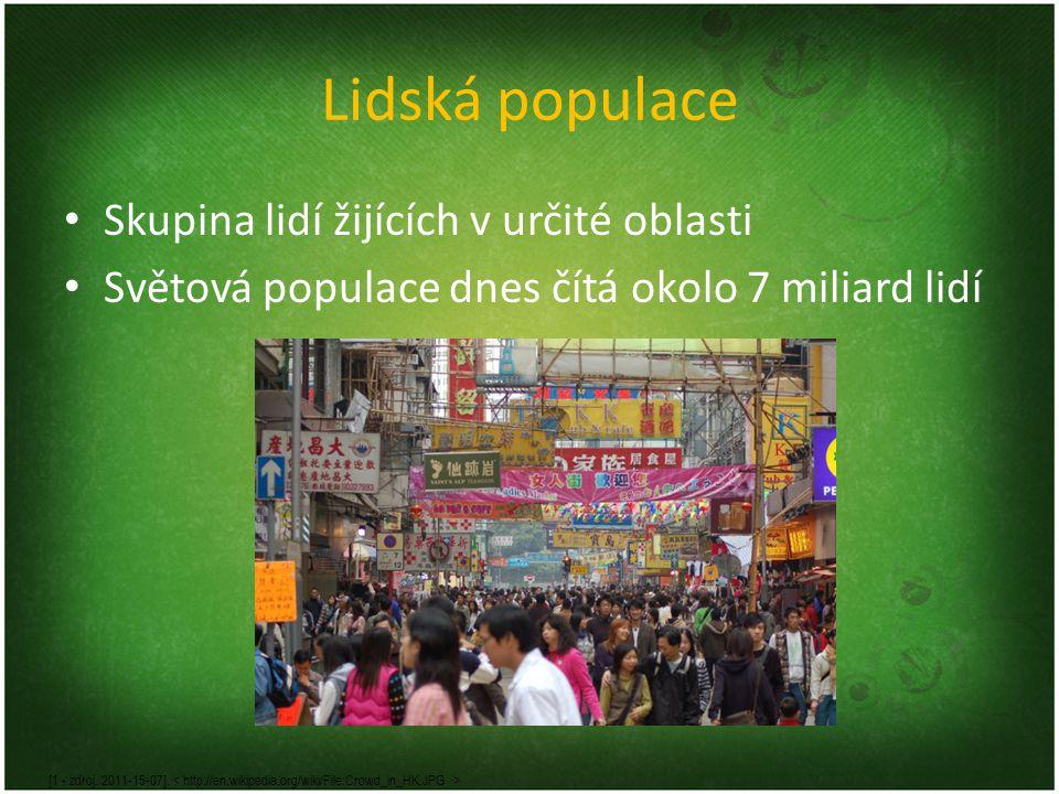 Lidská populace Skupina lidí žijících v určité oblasti