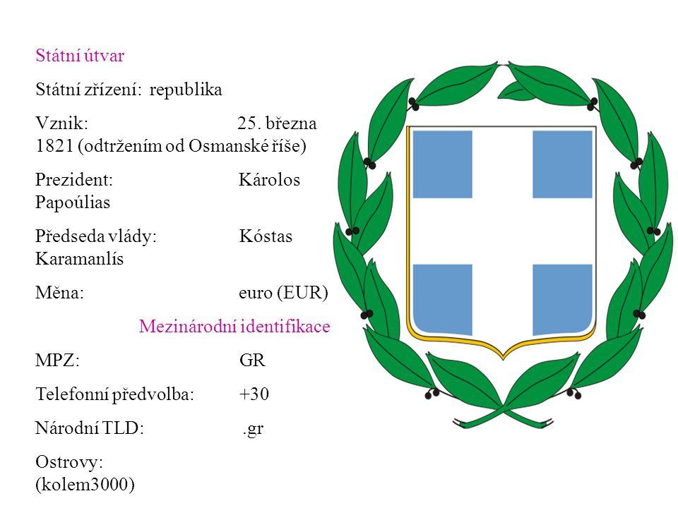 Státní útvar Státní zřízení: republika. Vznik: 25. března 1821 (odtržením od Osmanské říše)