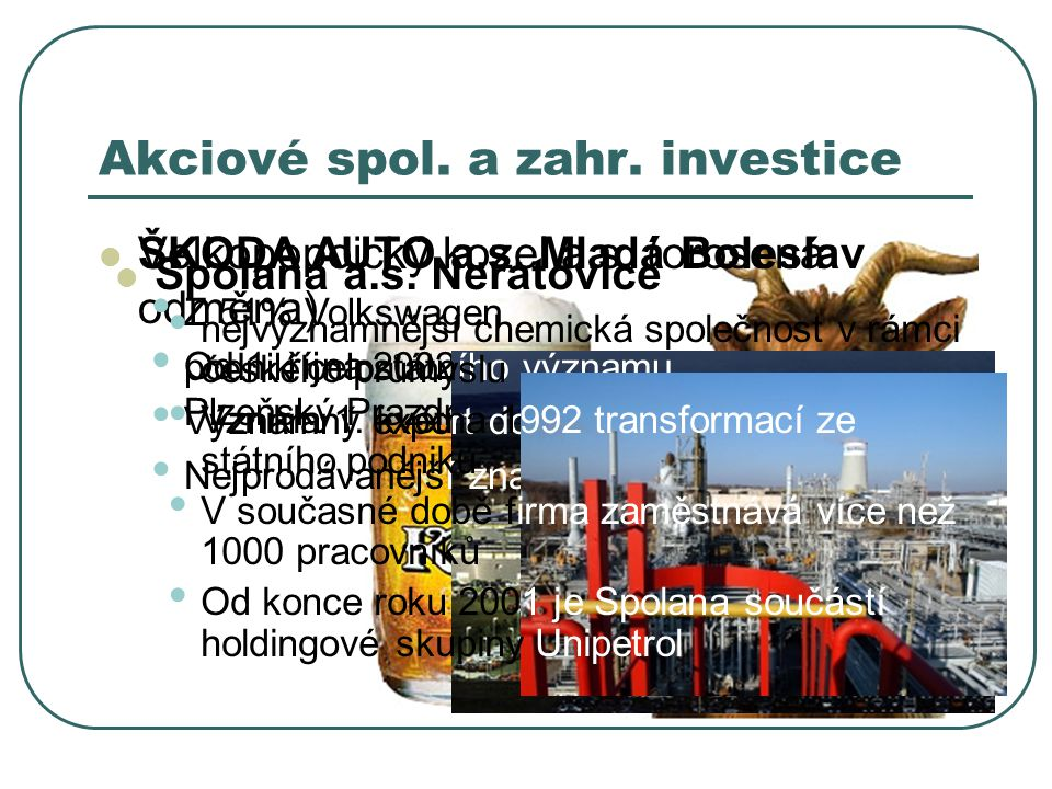 Akciové spol. a zahr. investice