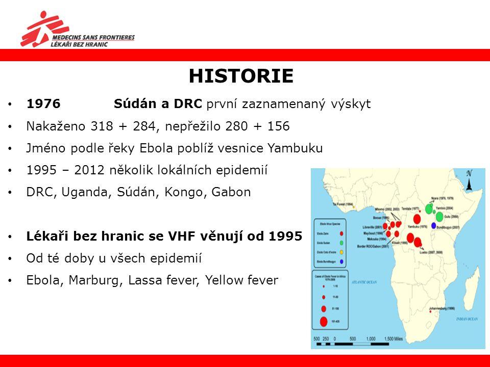 HISTORIE 1976 Súdán a DRC první zaznamenaný výskyt