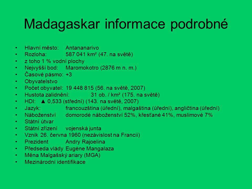 Madagaskar informace podrobné