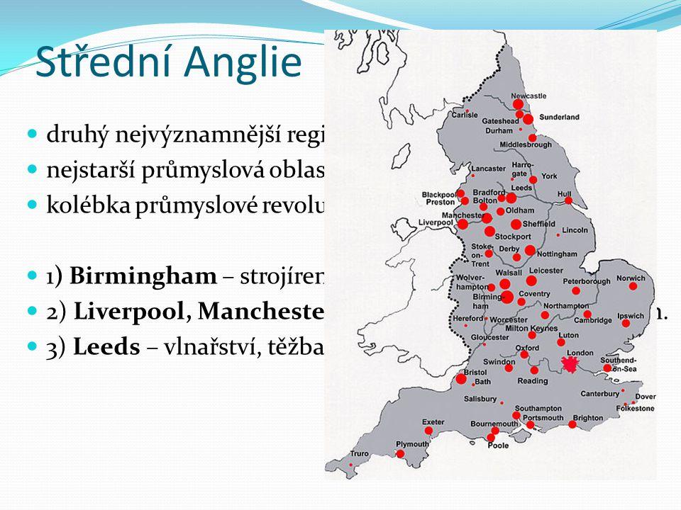 Střední Anglie druhý nejvýznamnější region