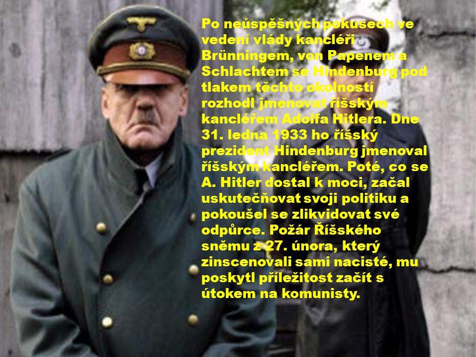 Po neúspěšných pokusech ve vedení vlády kancléři Brünningem, von Papenem a Schlachtem se Hindenburg pod tlakem těchto okolností rozhodl jmenovat říšským kancléřem Adolfa Hitlera.