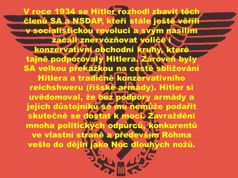V roce 1934 se Hitler rozhodl zbavit těch členů SA a NSDAP, kteří stále ještě věřili v socialistickou revoluci a svým násilím začali znervózňovat voliče i konzervativní obchodní kruhy, které tajně podporovaly Hitlera.