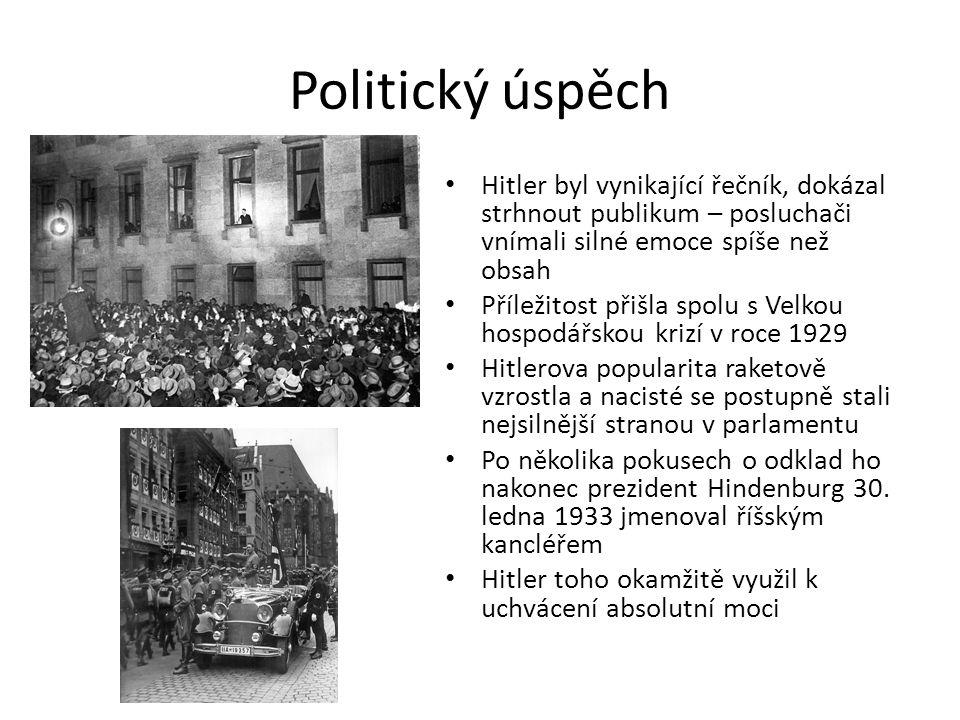 Politický úspěch Hitler byl vynikající řečník, dokázal strhnout publikum – posluchači vnímali silné emoce spíše než obsah.