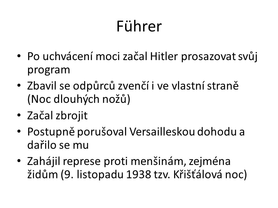 Führer Po uchvácení moci začal Hitler prosazovat svůj program