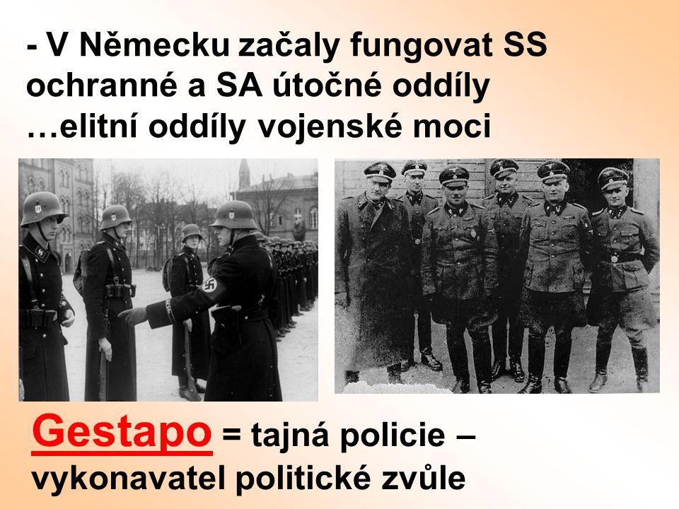 Gestapo = tajná policie – vykonavatel politické zvůle