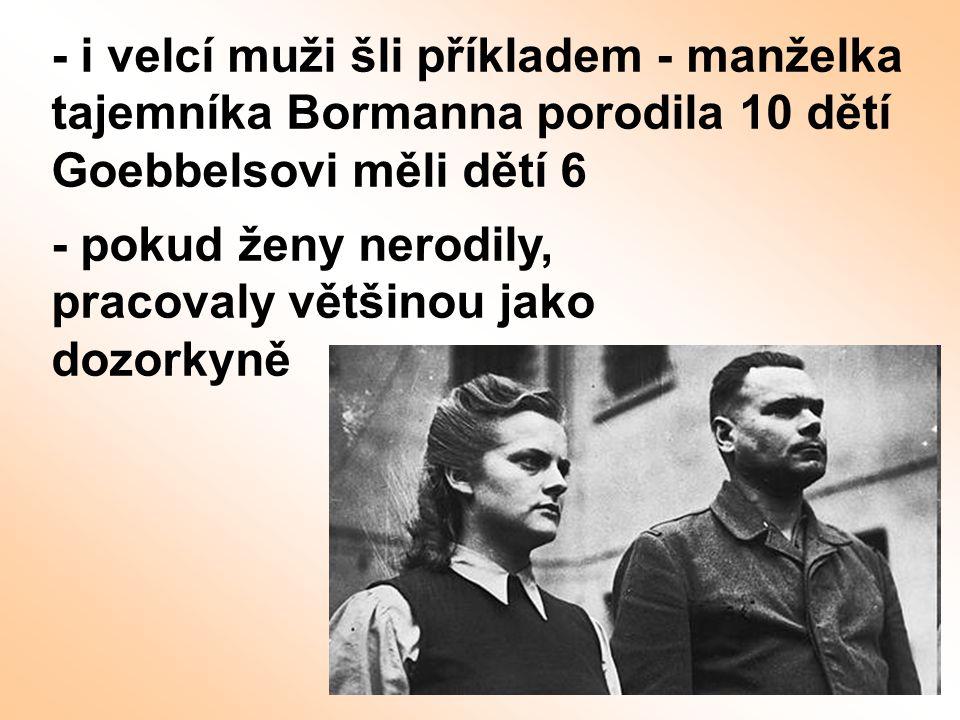 - i velcí muži šli příkladem - manželka tajemníka Bormanna porodila 10 dětí Goebbelsovi měli dětí 6