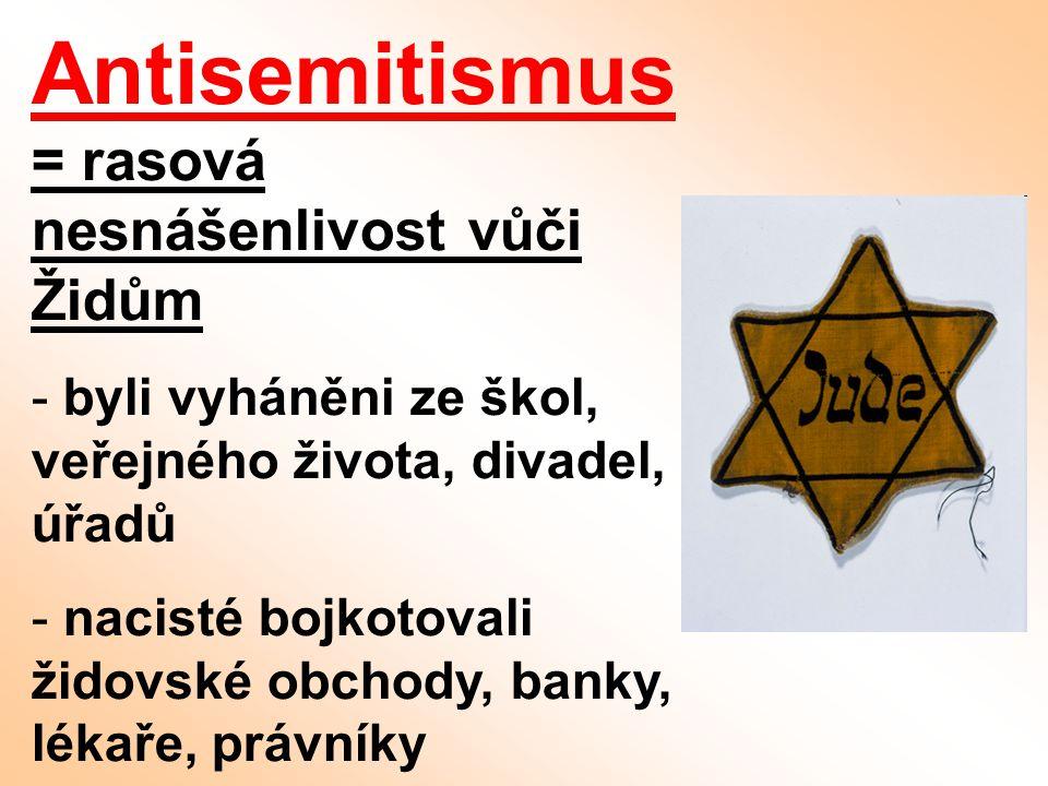 Antisemitismus = rasová nesnášenlivost vůči Židům