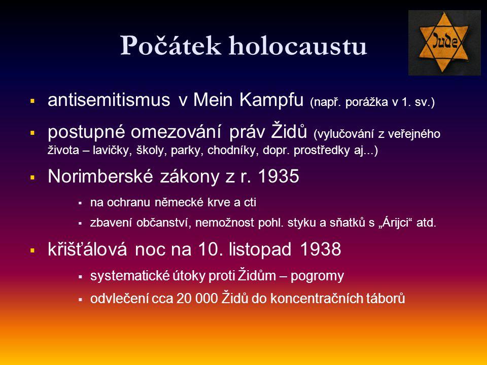 Počátek holocaustu antisemitismus v Mein Kampfu (např. porážka v 1. sv.)