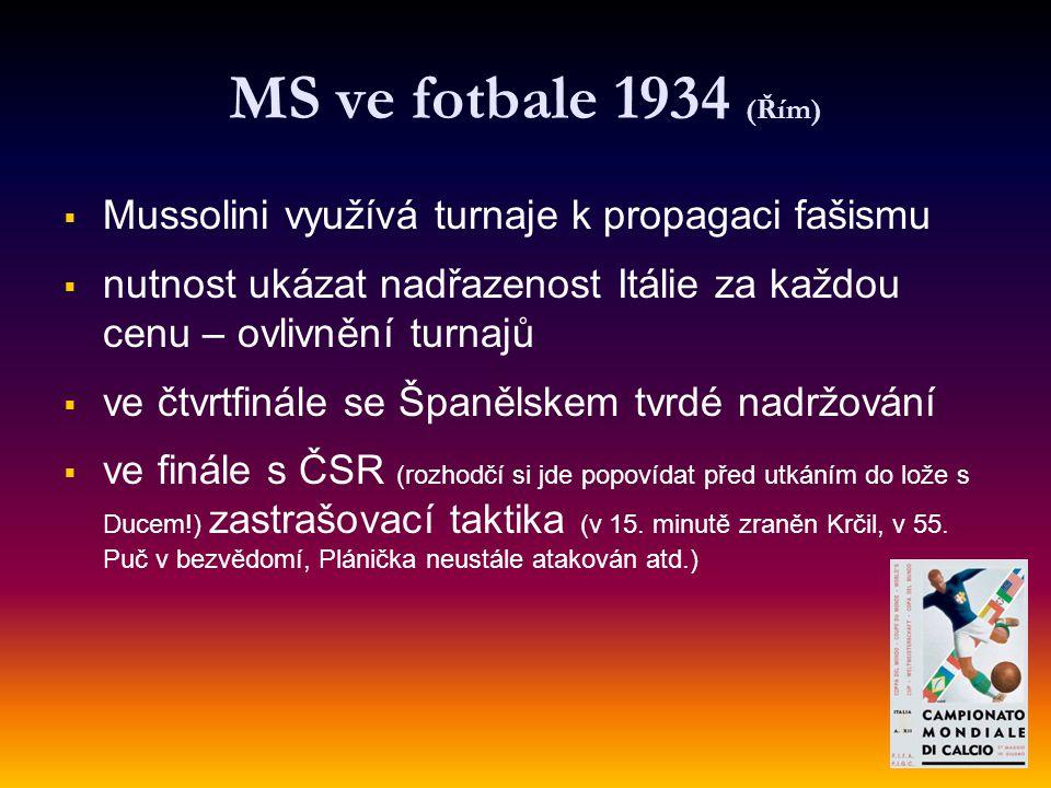 MS ve fotbale 1934 (Řím) Mussolini využívá turnaje k propagaci fašismu