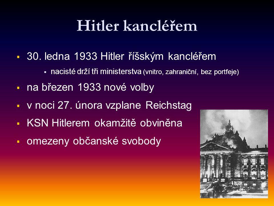 Hitler kancléřem 30. ledna 1933 Hitler říšským kancléřem