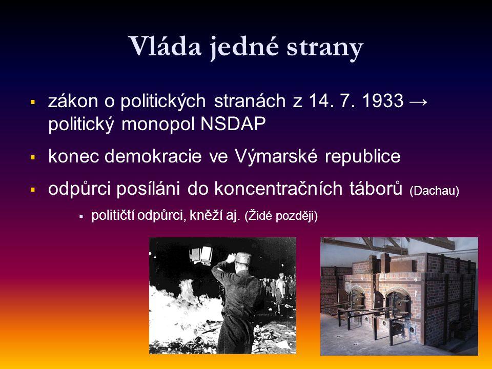 Vláda jedné strany zákon o politických stranách z 14. 7. 1933 → politický monopol NSDAP. konec demokracie ve Výmarské republice.