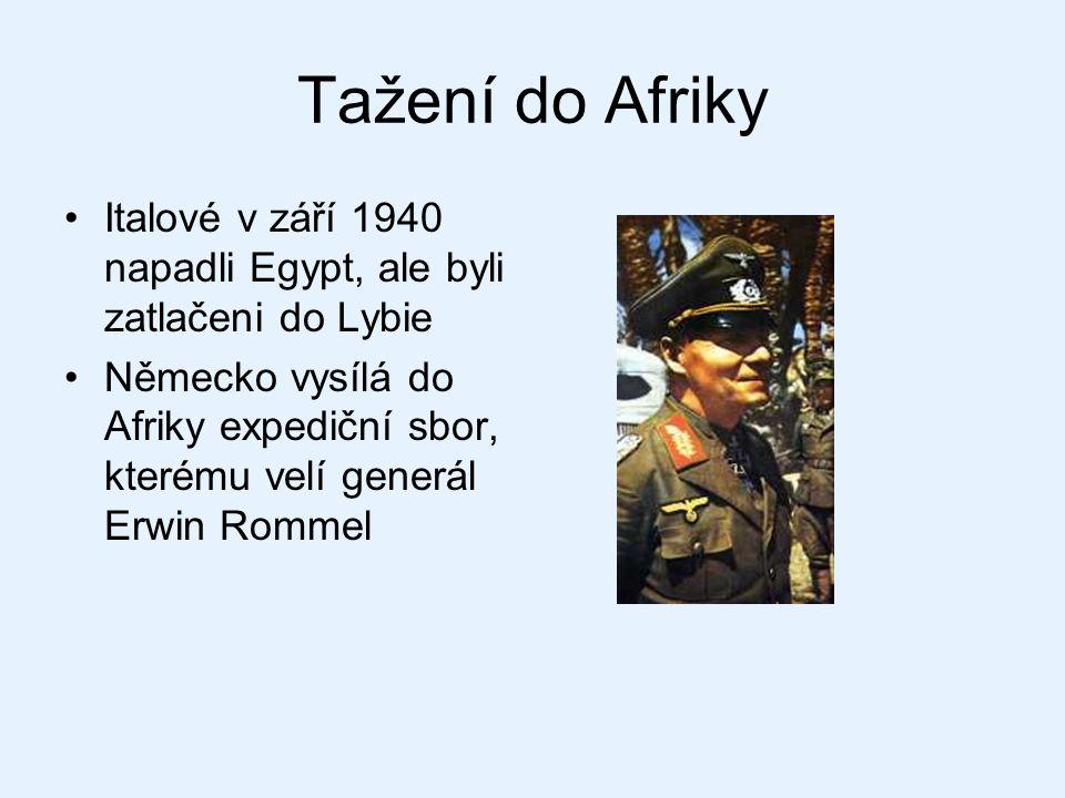 Tažení do Afriky Italové v září 1940 napadli Egypt, ale byli zatlačeni do Lybie.