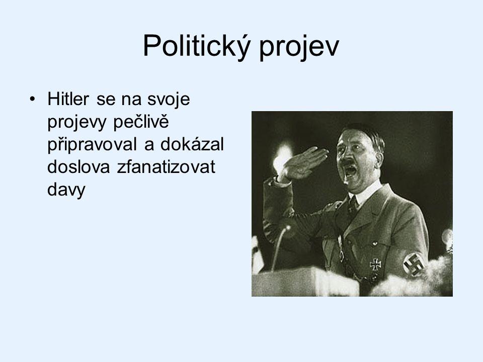 Politický projev Hitler se na svoje projevy pečlivě připravoval a dokázal doslova zfanatizovat davy