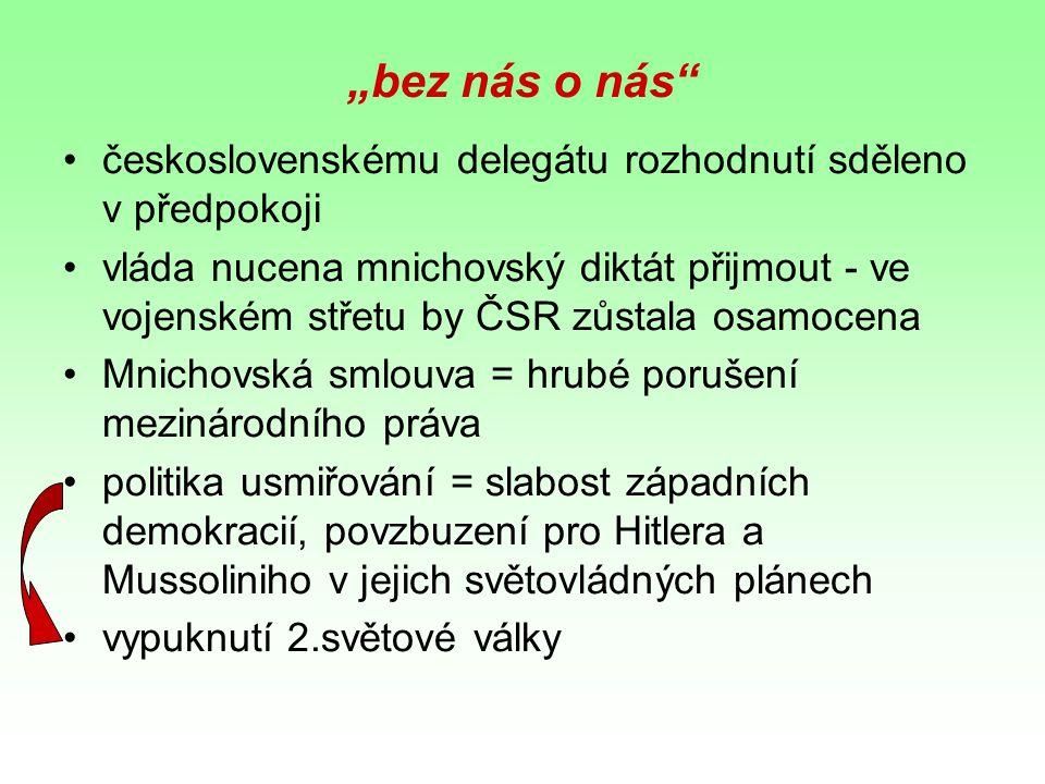 """""""bez nás o nás československému delegátu rozhodnutí sděleno v předpokoji."""