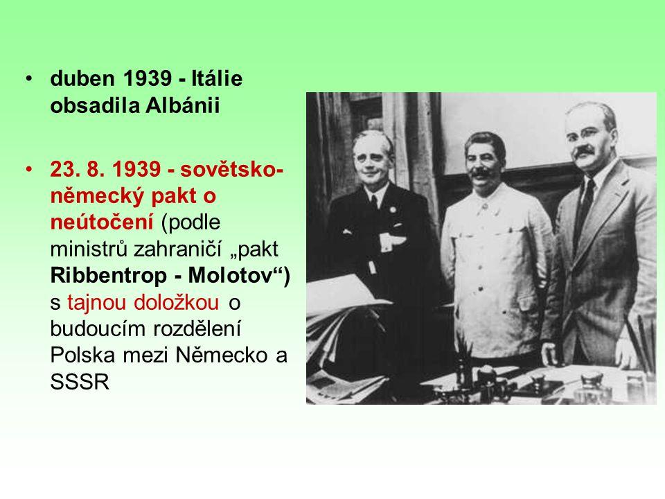 duben 1939 - Itálie obsadila Albánii