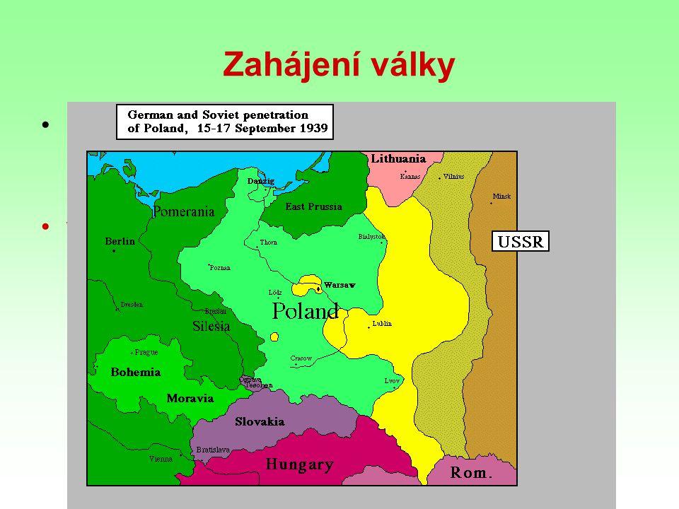Zahájení války přepadení Polska ospravedlněno provokací (němečtí vojáci v polských uniformách přepadli německý vysílač v Gliwici)