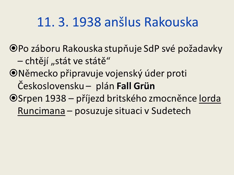 """11. 3. 1938 anšlus Rakouska Po záboru Rakouska stupňuje SdP své požadavky – chtějí """"stát ve státě"""