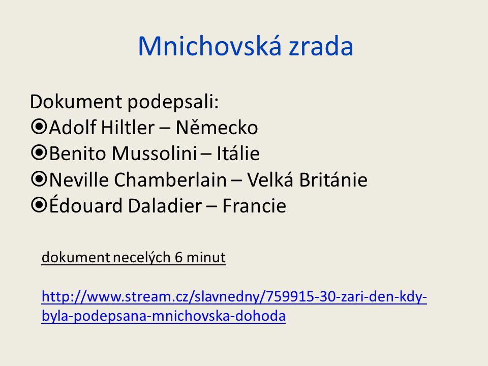 Mnichovská zrada Dokument podepsali: Adolf Hiltler – Německo