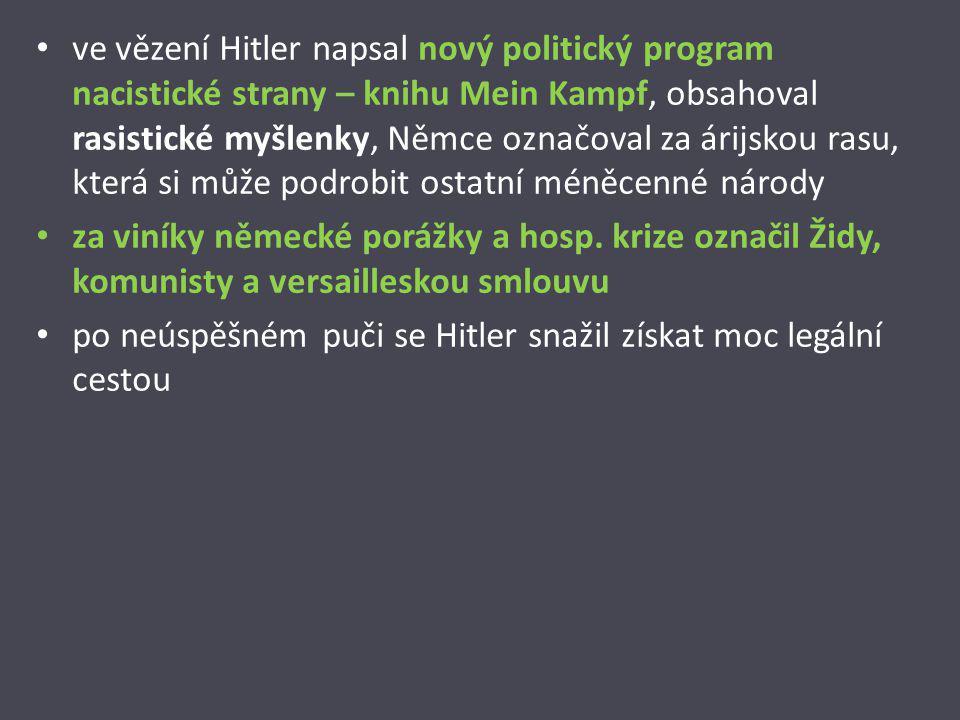 ve vězení Hitler napsal nový politický program nacistické strany – knihu Mein Kampf, obsahoval rasistické myšlenky, Němce označoval za árijskou rasu, která si může podrobit ostatní méněcenné národy