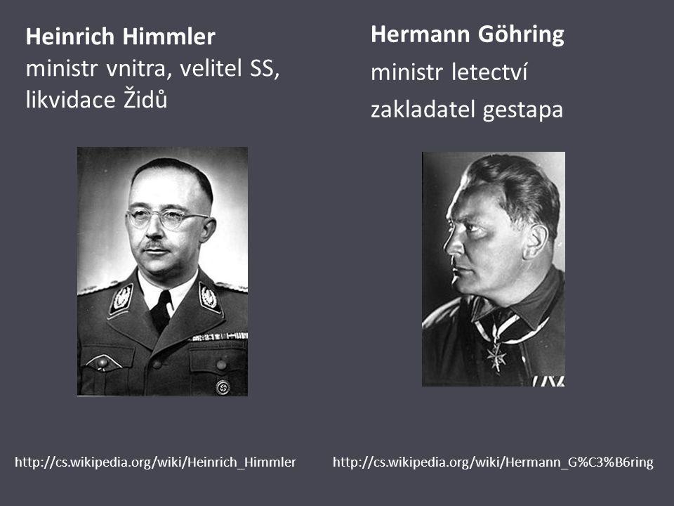 Heinrich Himmler ministr vnitra, velitel SS, likvidace Židů