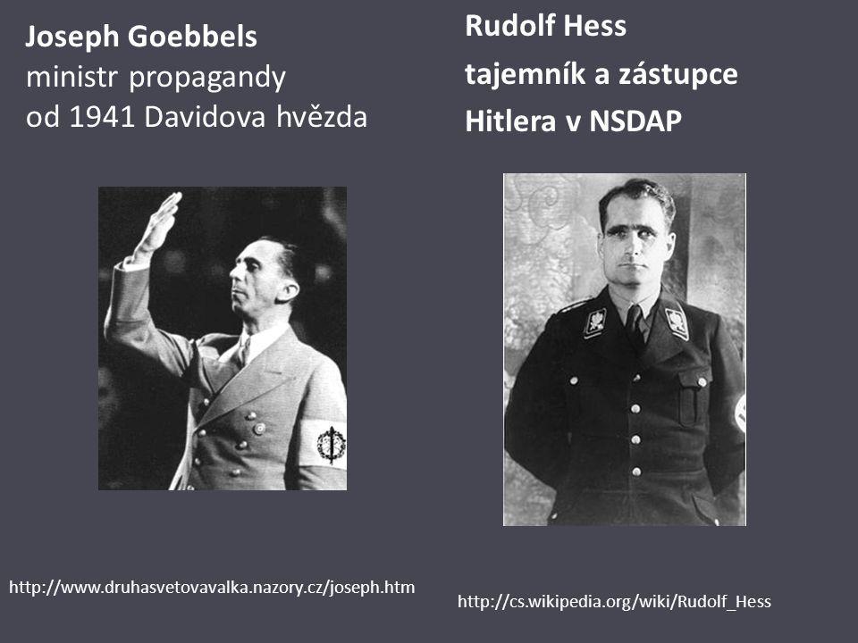 Joseph Goebbels ministr propagandy od 1941 Davidova hvězda