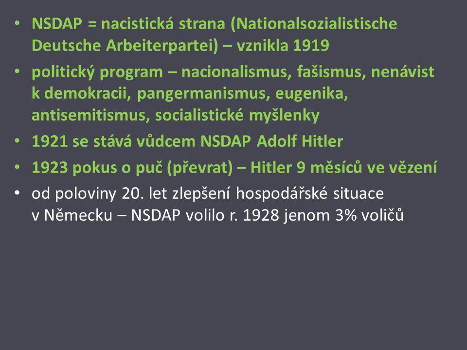 NSDAP = nacistická strana (Nationalsozialistische Deutsche Arbeiterpartei) – vznikla 1919