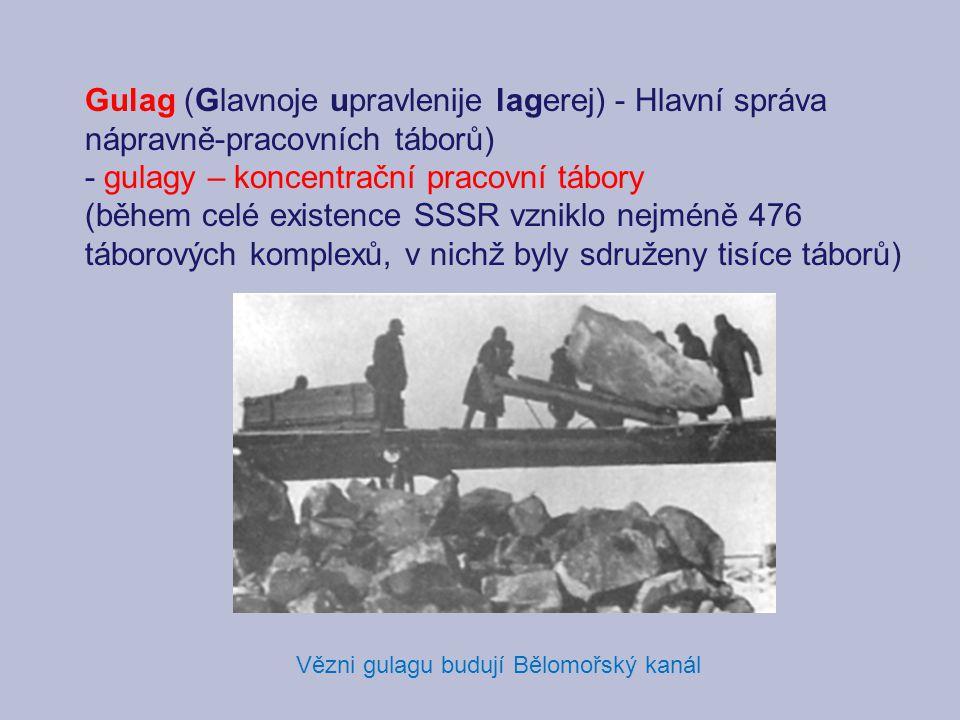 Vězni gulagu budují Bělomořský kanál