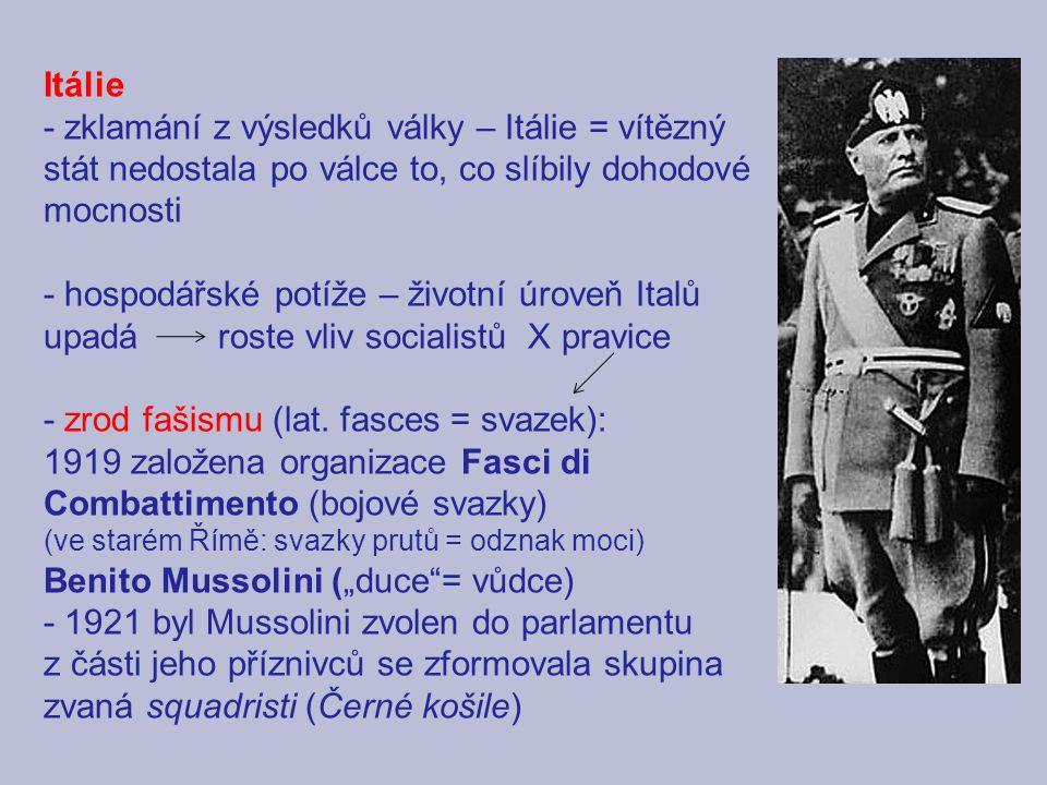 - zrod fašismu (lat. fasces = svazek):