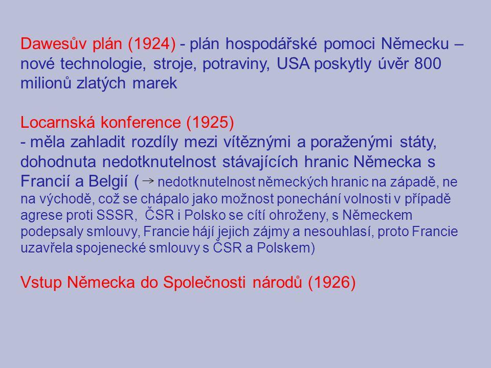 Dawesův plán (1924) - plán hospodářské pomoci Německu – nové technologie, stroje, potraviny, USA poskytly úvěr 800 milionů zlatých marek