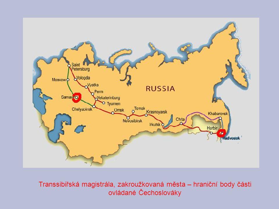 Transsibiřská magistrála, zakroužkovaná města – hraniční body části ovládané Čechoslováky