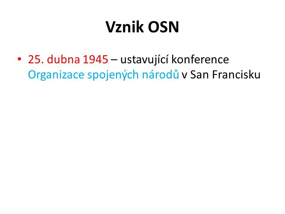 Vznik OSN 25. dubna 1945 – ustavující konference Organizace spojených národů v San Francisku
