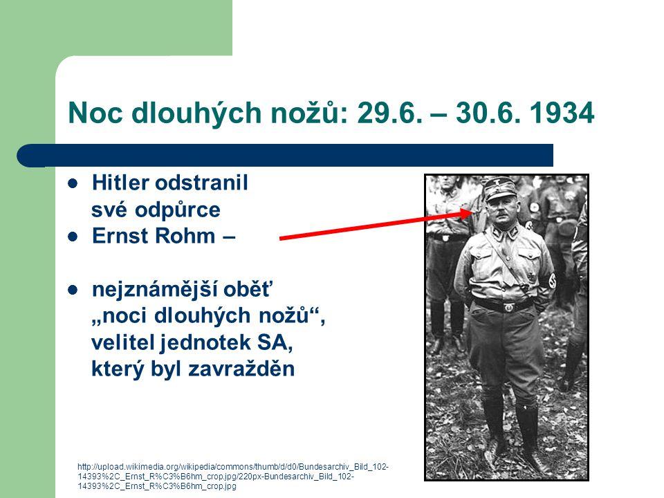 Noc dlouhých nožů: 29.6. – 30.6. 1934 Hitler odstranil své odpůrce