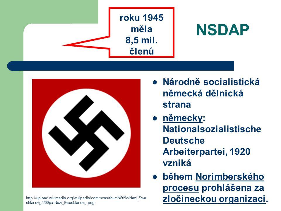 NSDAP roku 1945 měla 8,5 mil. členů