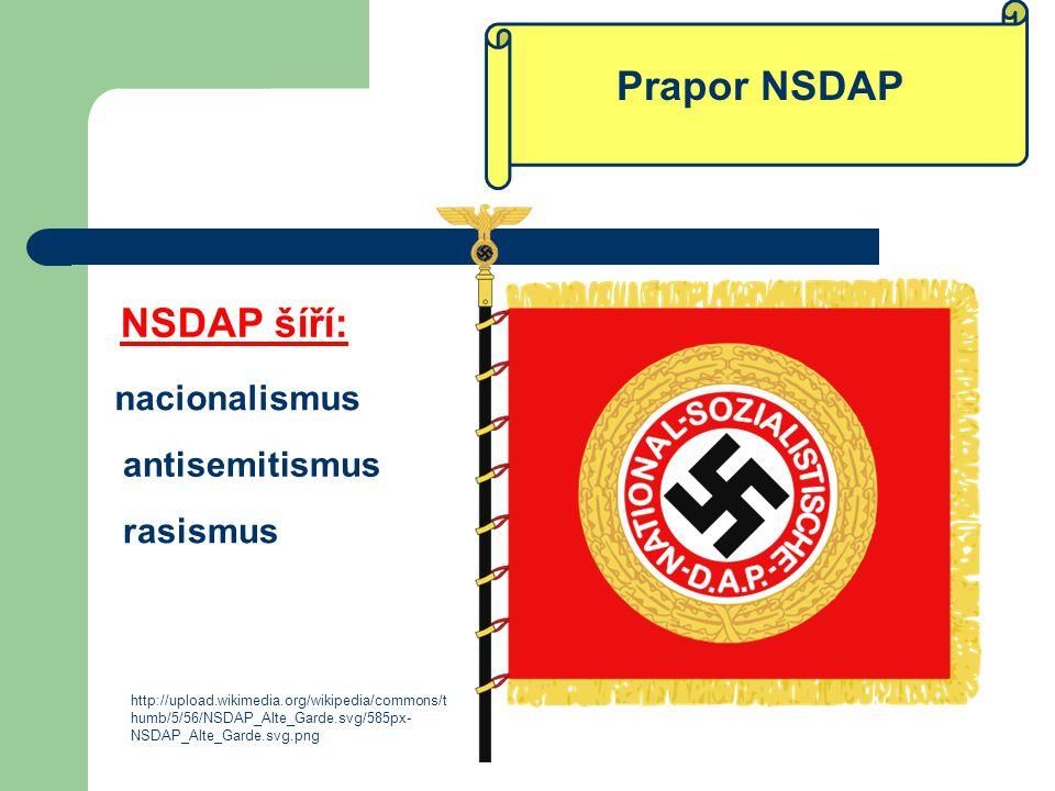 Prapor NSDAP NSDAP šíří: nacionalismus antisemitismus rasismus