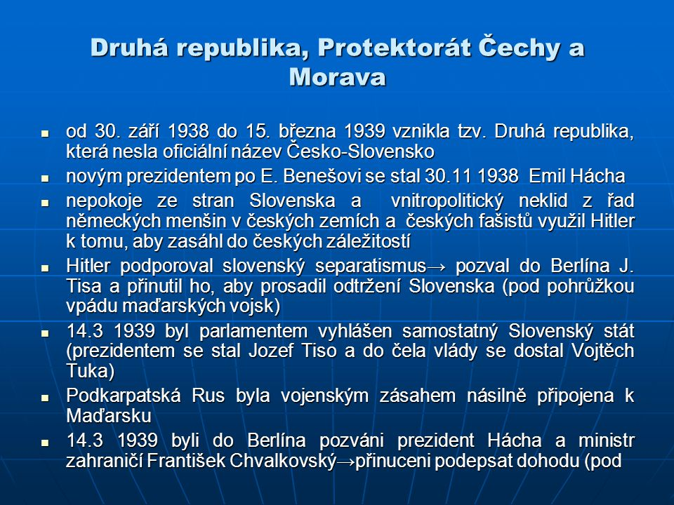 Druhá republika, Protektorát Čechy a Morava