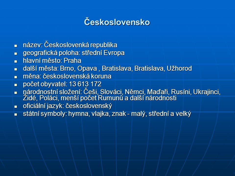 Československo název: Českoslovenká republika
