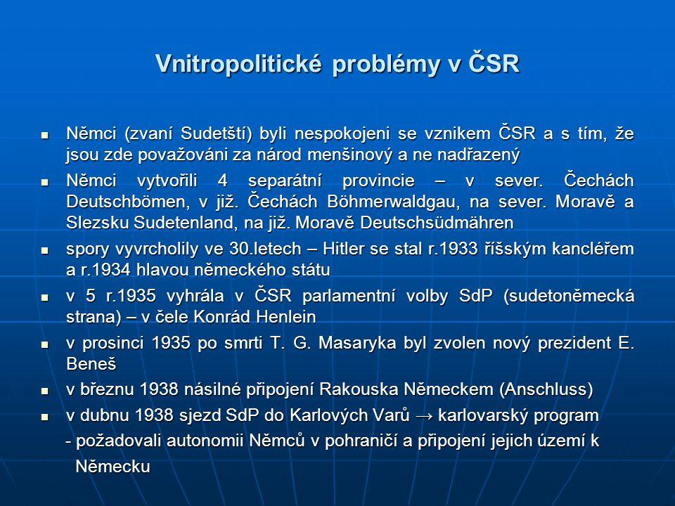 Vnitropolitické problémy v ČSR