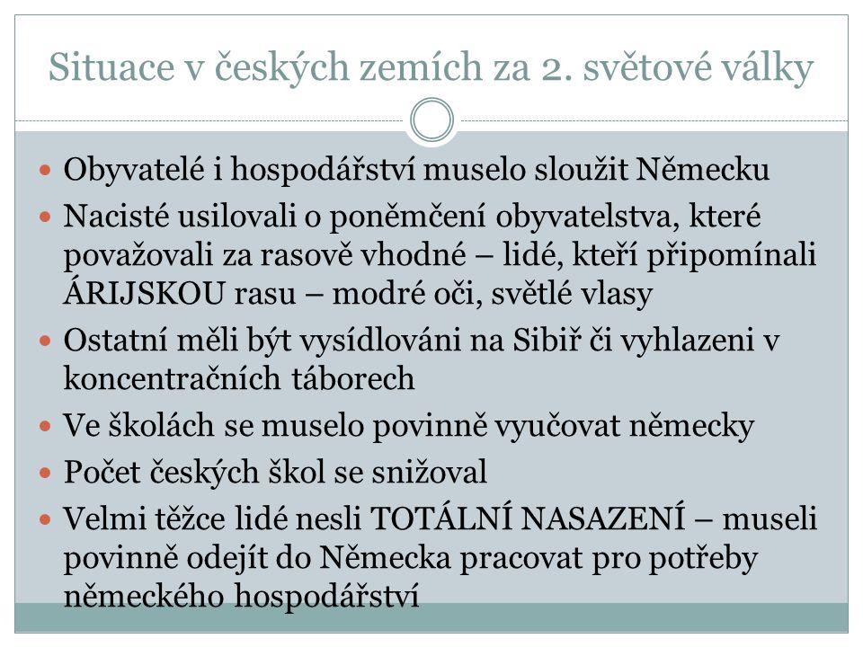 Situace v českých zemích za 2. světové války
