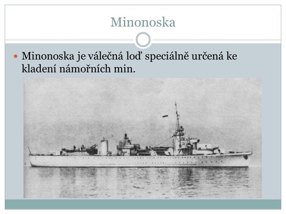 Minonoska Minonoska je válečná loď speciálně určená ke kladení námořních min.