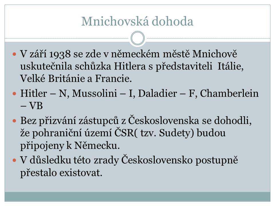 Mnichovská dohoda V září 1938 se zde v německém městě Mnichově uskutečnila schůzka Hitlera s představiteli Itálie, Velké Británie a Francie.